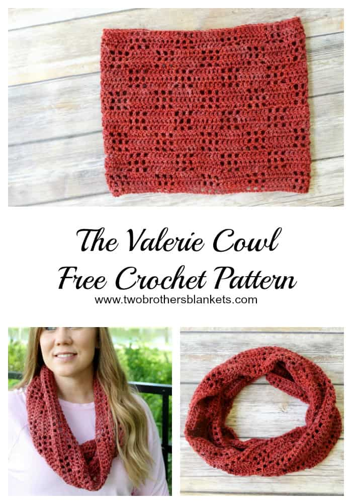 Collage of photos of a red cowl, called the Valerie Cowl, made using the filet crochet technique.