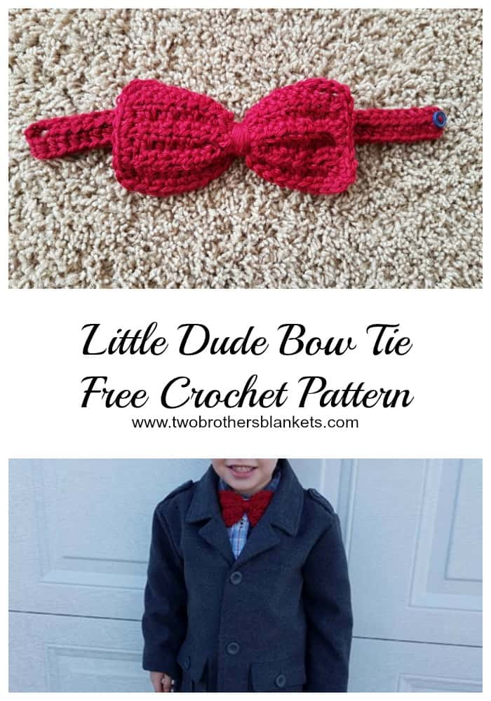 Little Dude Bow Tie Free Crochet Pattern Two Brothers Blankets