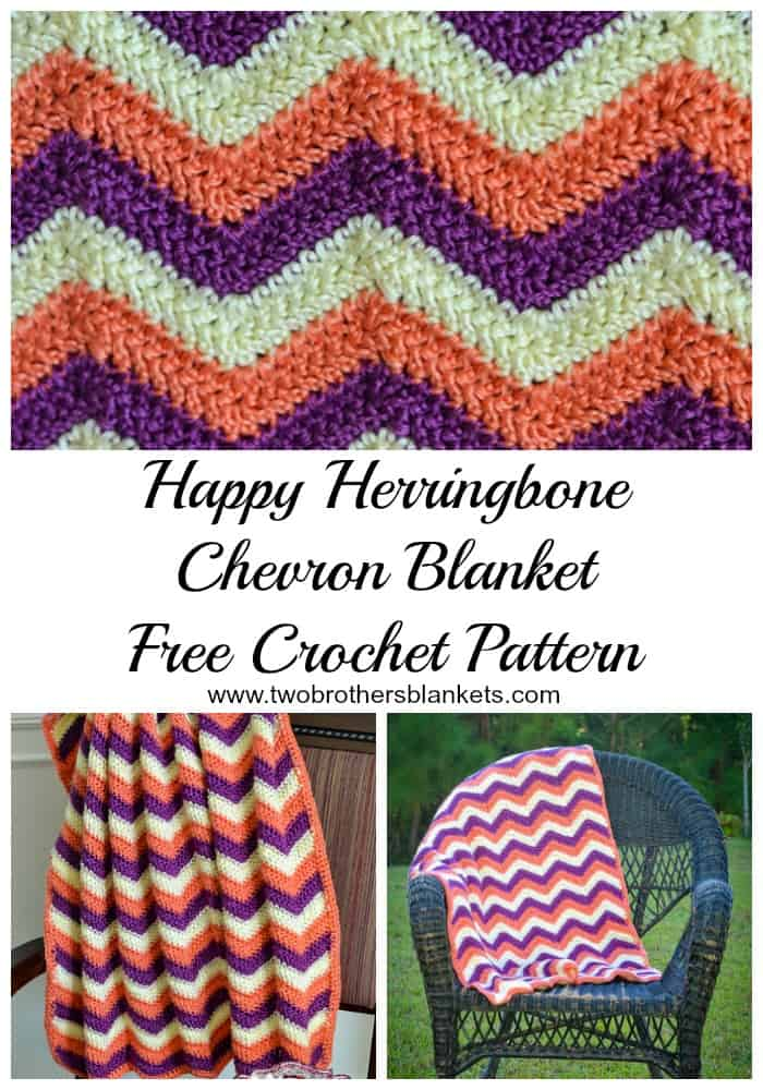 Happy Herringbone Chevron Blanket Free Crochet Pattern