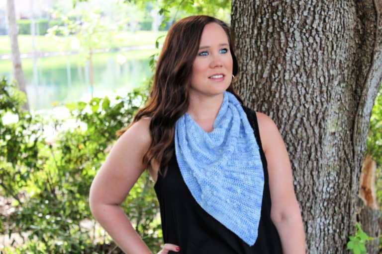Free One Skein Crochet  Pattern – Blooming Buds Bandanna
