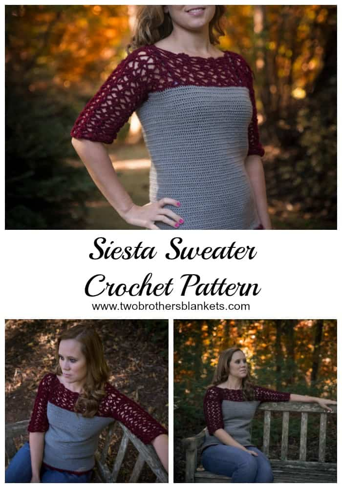 Siesta Sweater Crochet Pattern by Two Brothers Blankets