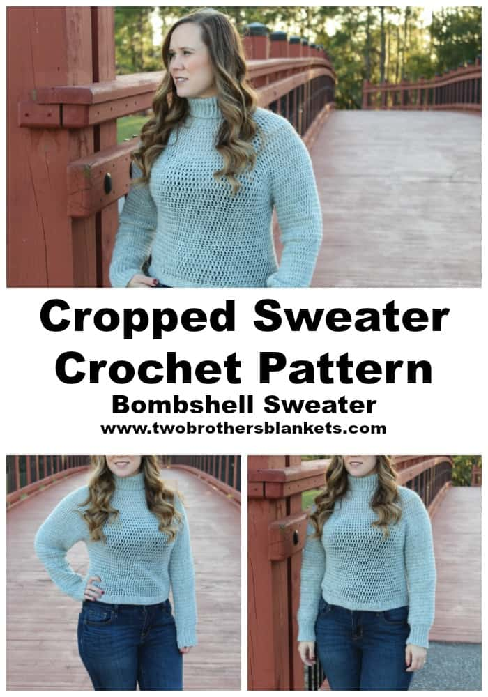 Cropped Sweater Crochet Pattern- Bombshell Sweater- Two Brothers Blankets
