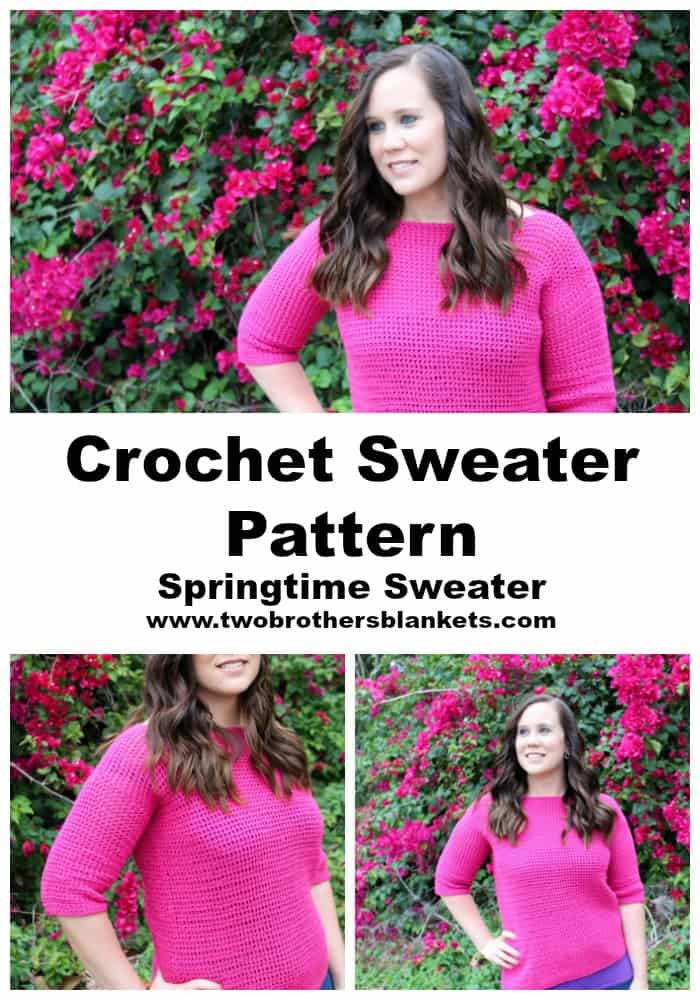 Crochet Sweater Pattern- Springtime Sweater- Two Brothers Blankets