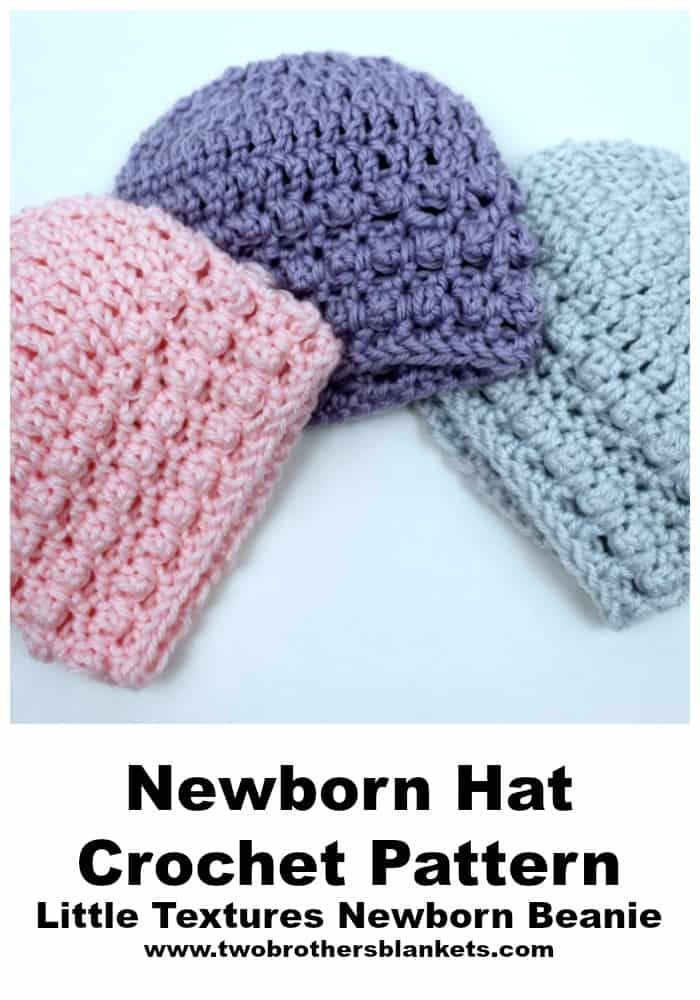 Little Textures Newborn Beanies in colors blue, purple, and pink.