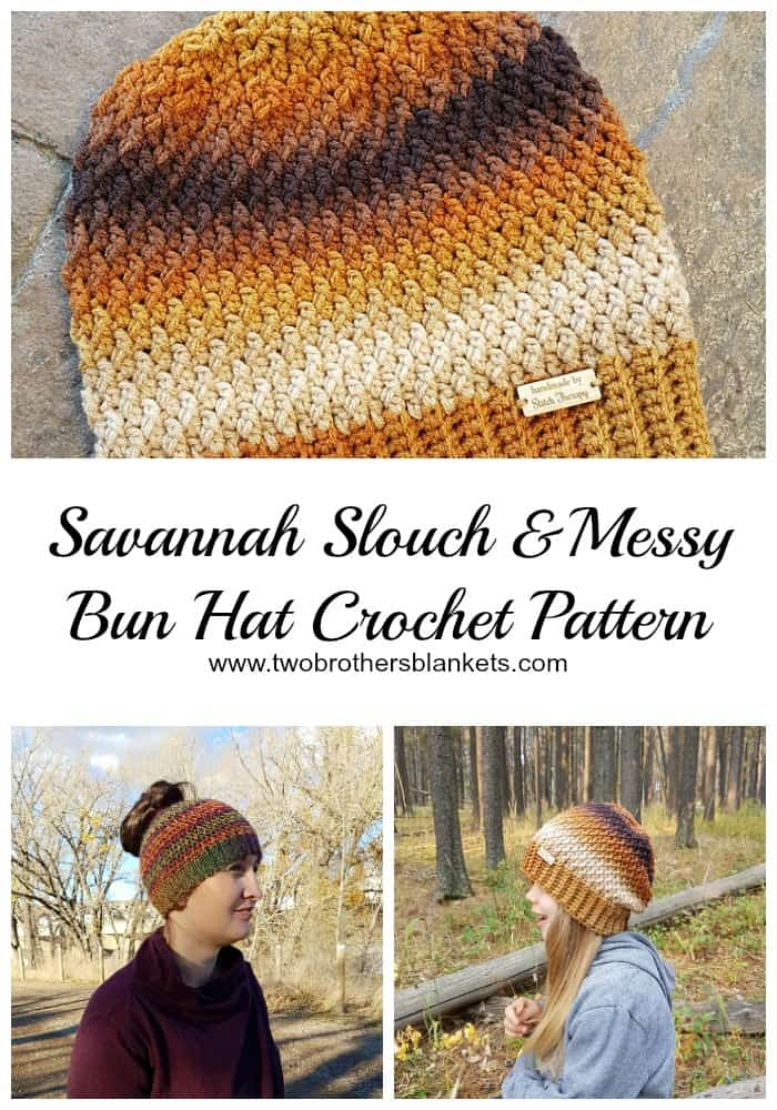 Savannah Slouch & Messy Bun Hat Crochet Pattern