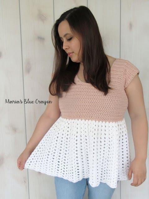 Talulah Top - Free Crochet Lacey, Ruffle Tunic Pattern