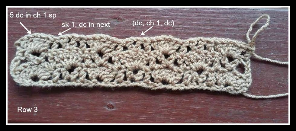 Sarah Scarf crochet pattern photo tutorial step 3.
