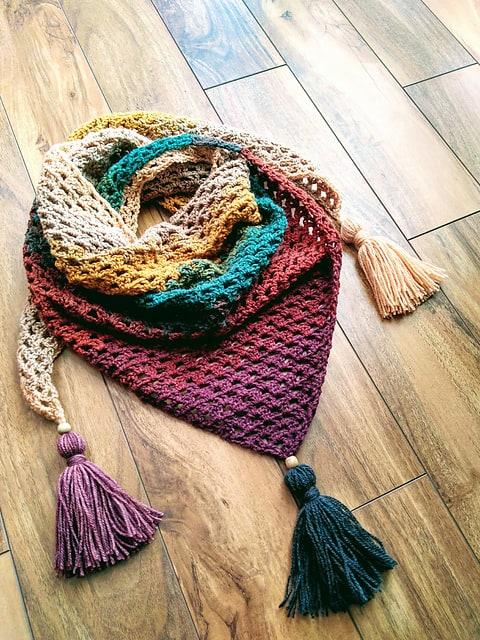 Fiesta Fringe Triangle Scarf Crochet Pattern