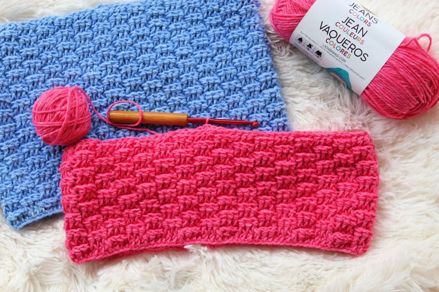 Enchanted Dreams Cowl Flatlay in Blue and Pink.