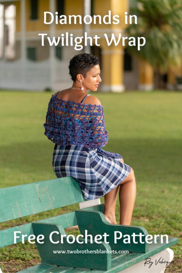 Diamonds in Twilight Wrap Free Crochet Pattern