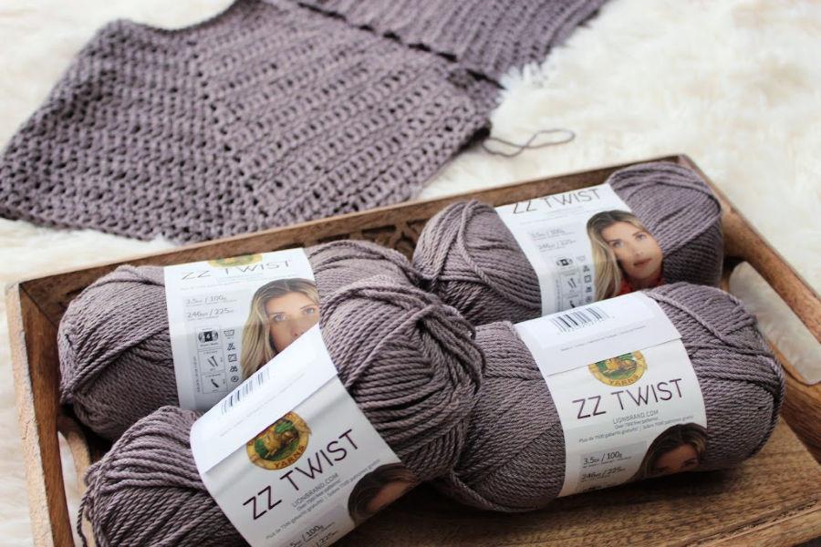 ZZ Twist Yarn with cardigan laying flat in background.