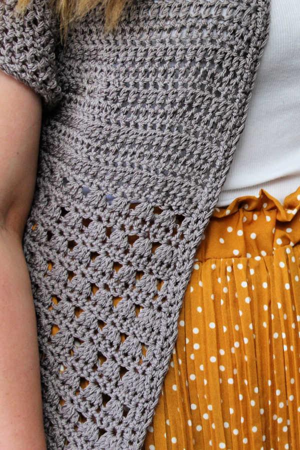 Close up photo of the crochet Grace Cardi.
