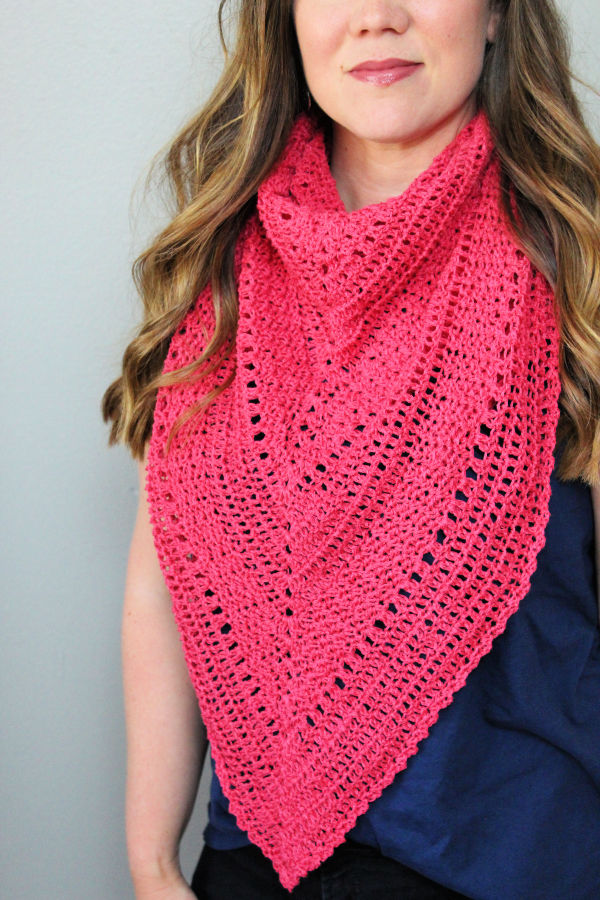 Pink triangle shawl called the Meadowsweet Shawl.