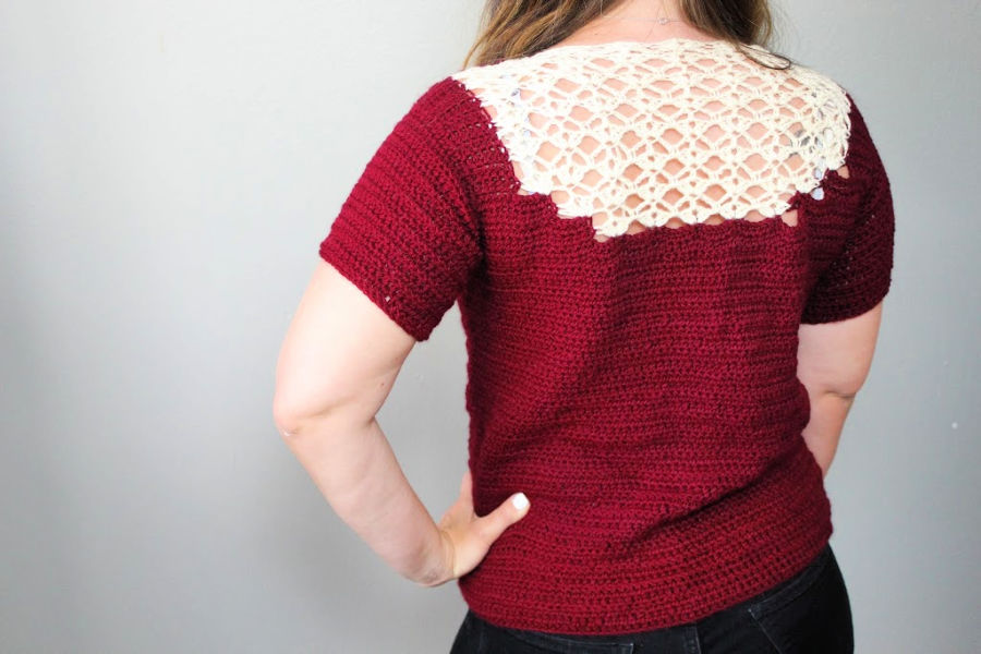 Back side of crochet top called Tea Time Tee.
