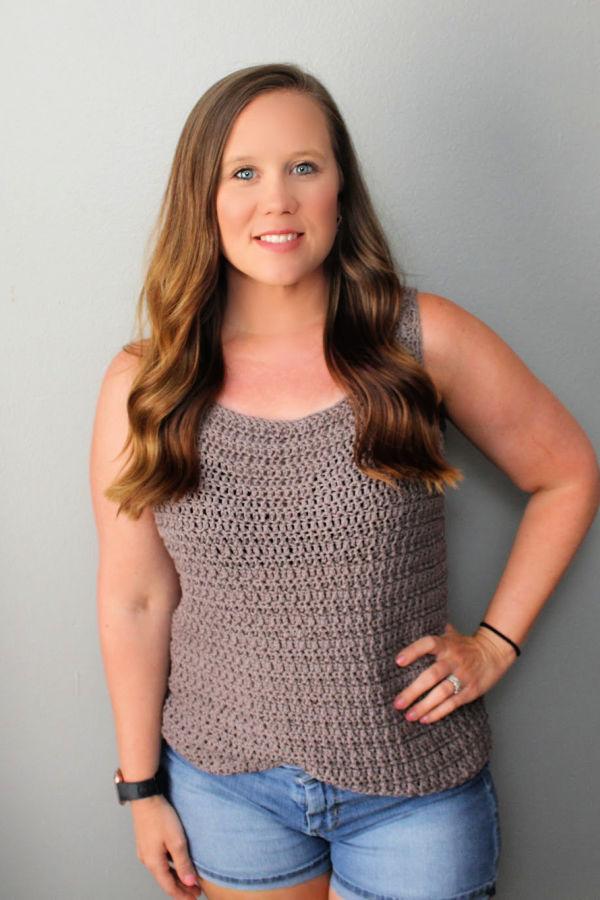 Woman wearing the Edgewater Tank Top.
