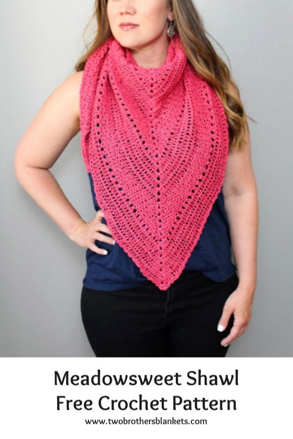 Meadowsweet Shawl Free Crochet Pattern Pin