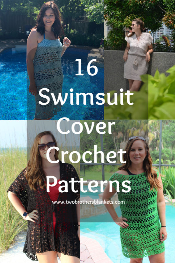Collage of 4 swimsuit cover crochet patterns with title 16 Swimsuit Cover Crochet Patterns.