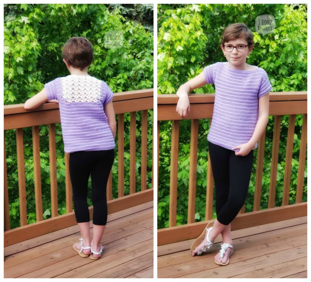 Photo of young girl wearing a light purple crochet top, called the Tea Time Tee.