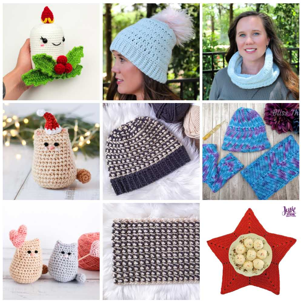 Collage of some of the crochet patterns included in the Handmade for the Holidays Bundle.
