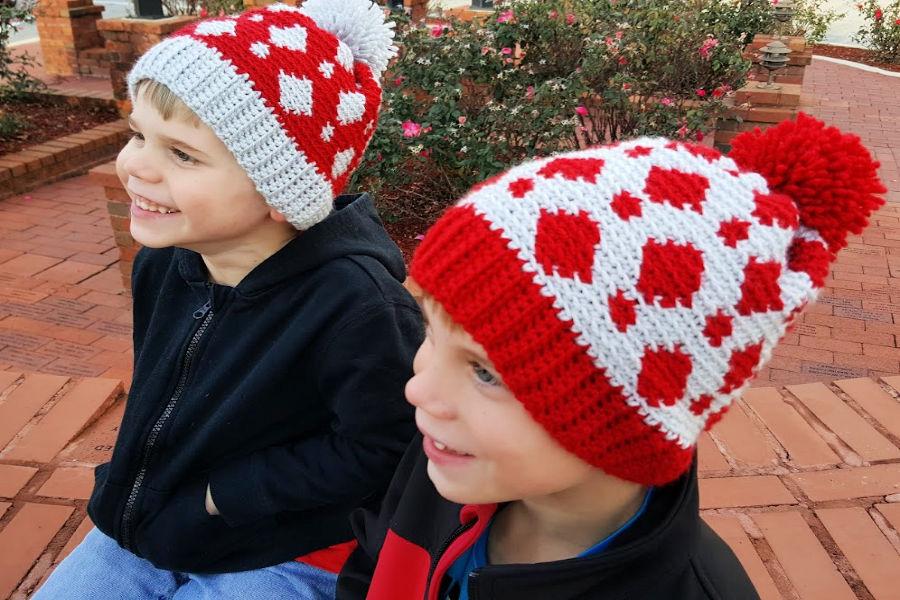 Children wearing a fair isle crochet hat called the Gatlinburg Hat.