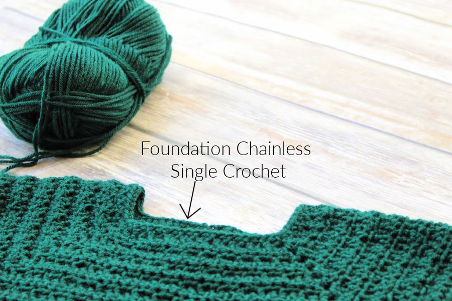 The start of a sweater using the chainless foundation single crochet stitch.