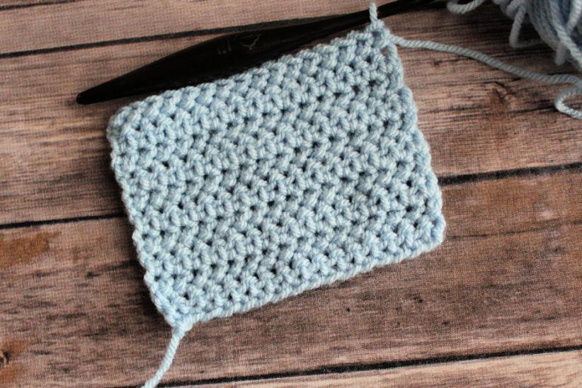 Crochet swatch of the herringbone half double crochet stitch.