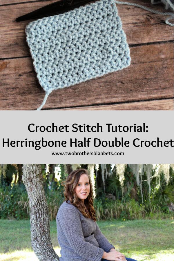 Crochet Stitch Tutorial: Herringbone Half Double Crochet Stitch Pinterest