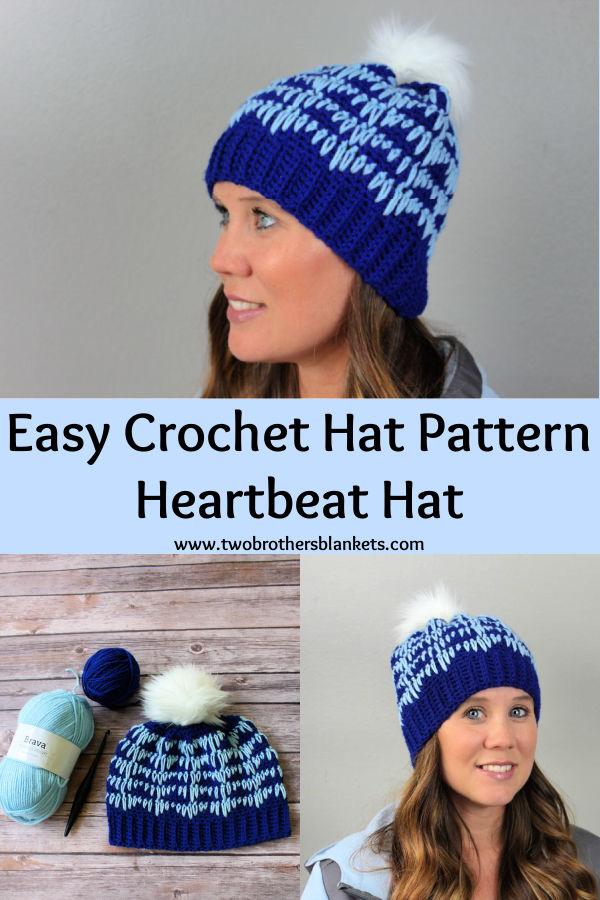 Easy Crochet Hat Pattern - Heartbeat Hat