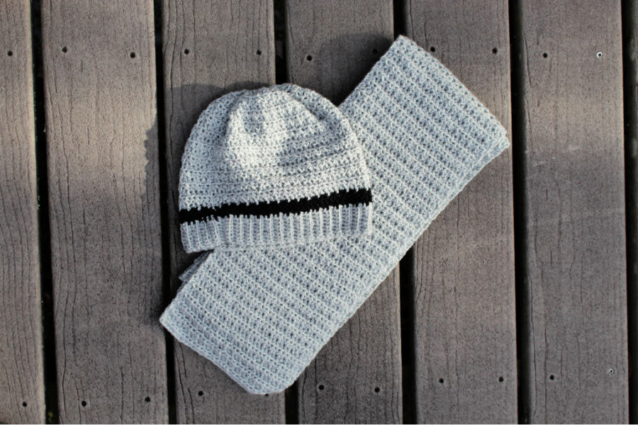 Flat lay photo of the crochet hat and scarf set, called the Dude Hat and Scarf.