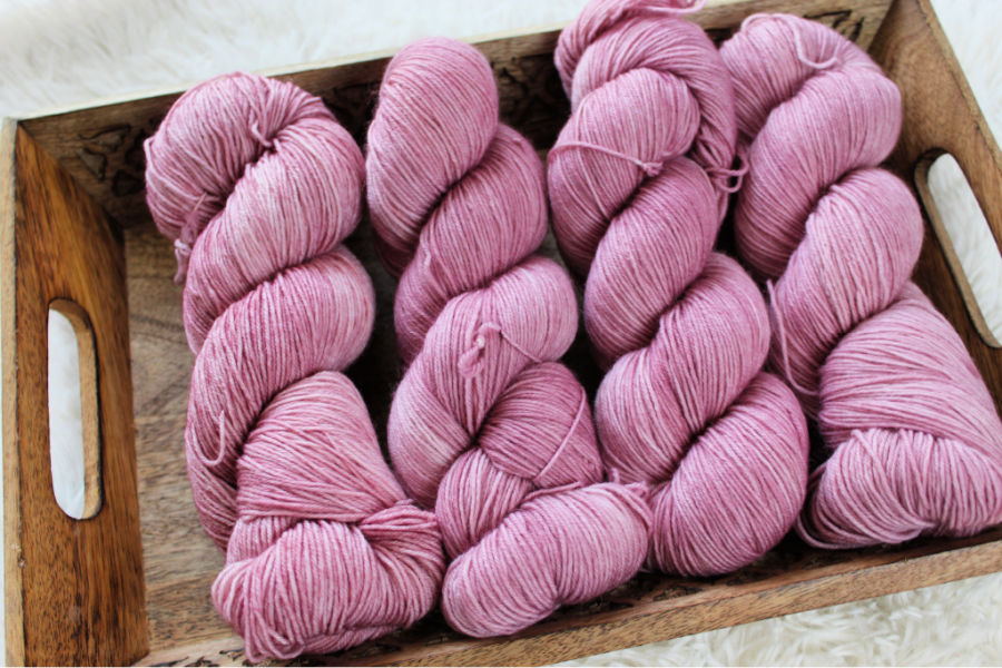 Hand dyed yarn in pink colorway called Caroline.