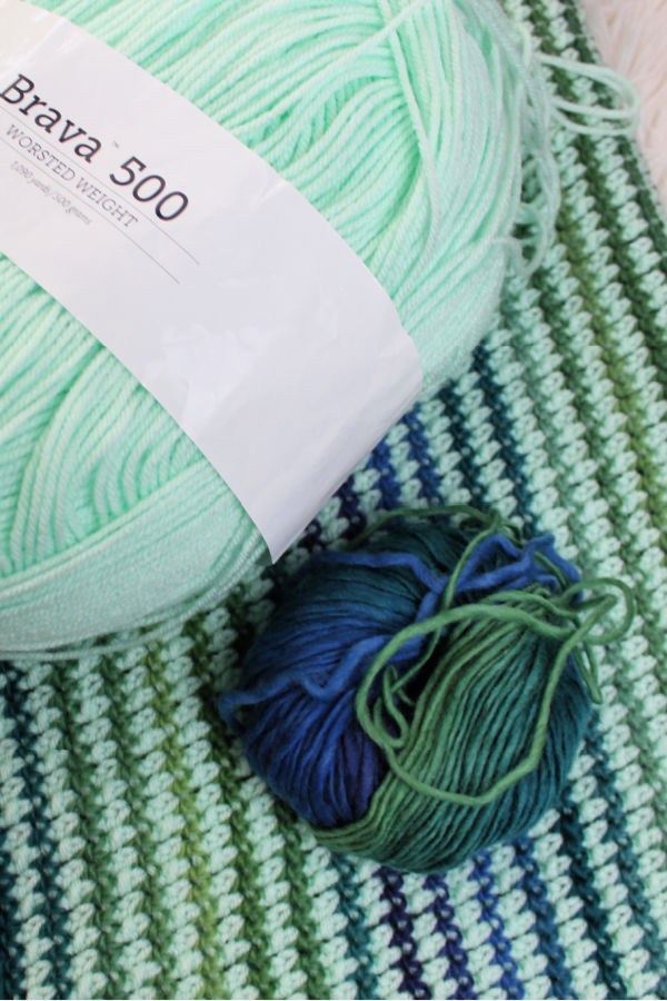 Close up of the yarn used for the crochet preemie blanket, called the Friendship Blanket.