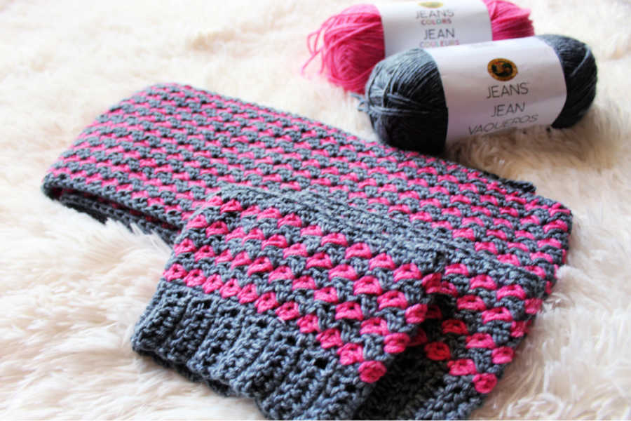 Simple crochet scarf and boot cuffs set, in pink and gray Lion Brand Jeans yarn.
