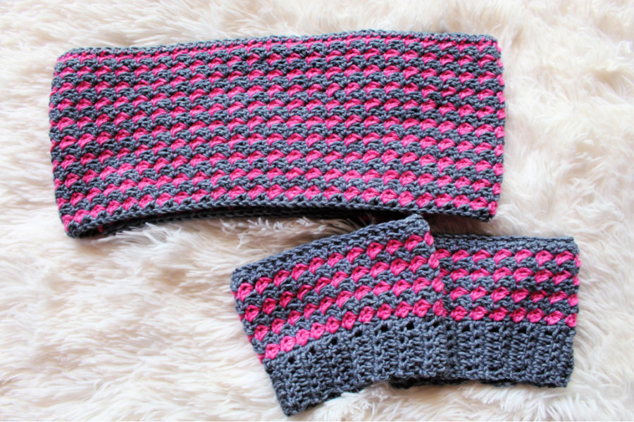 Flat Lay of Pink and Gray crochet scarf and boot cuffs set.
