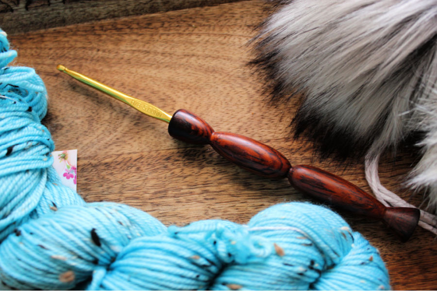 Close up of handmade crochet hook from Leither Co.
