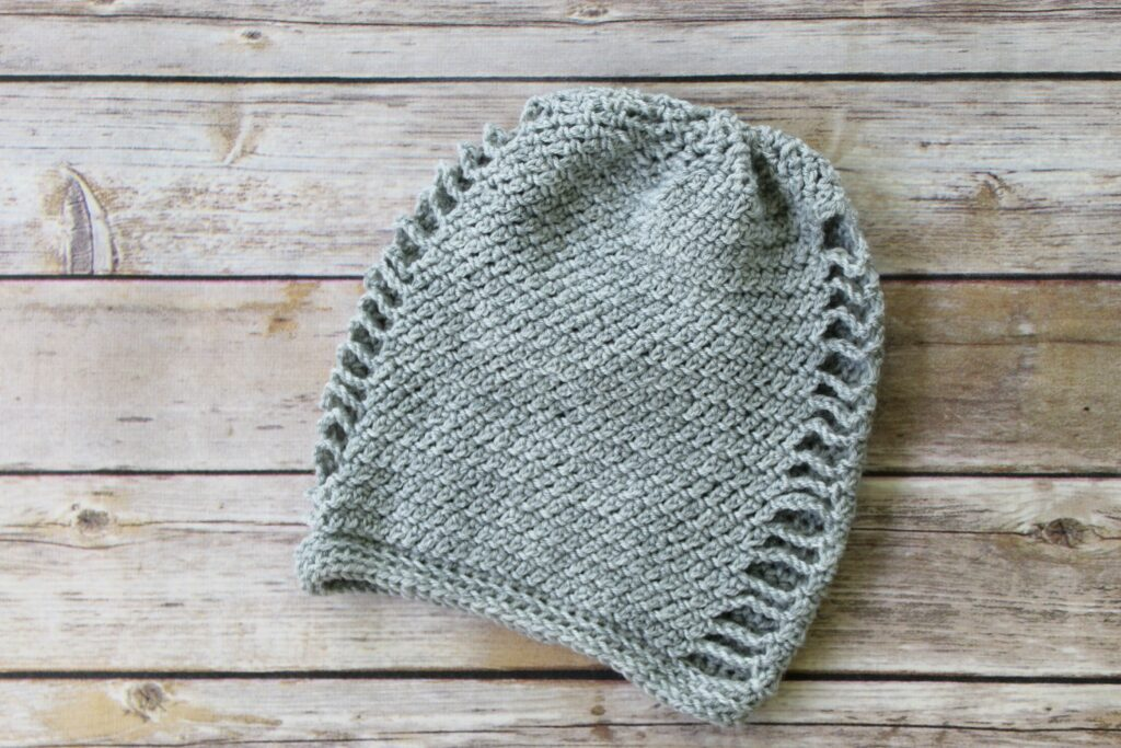 Gray crochet slouch hat, called the La Maille Hat.