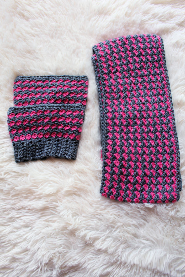 Simply Textured crochet scarf and boot cuffs set.