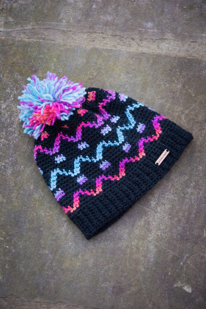 A hat that uses a crochet chart within the pattern.