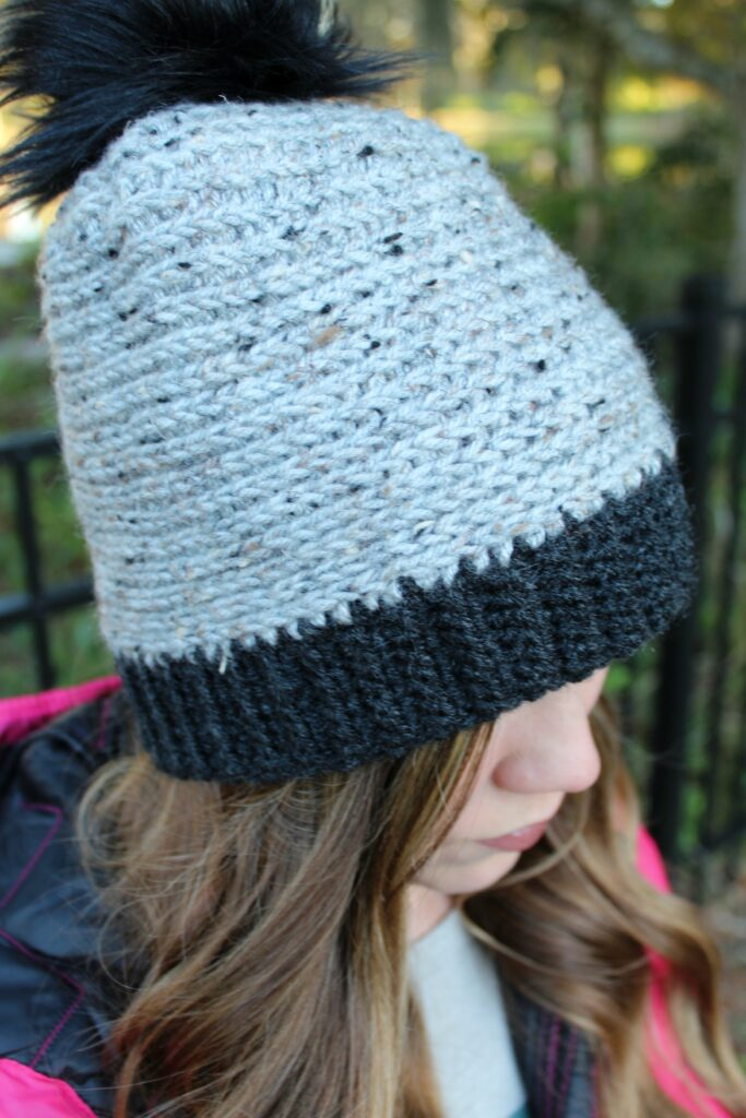 Close up of the camel stitch crochet beanie.