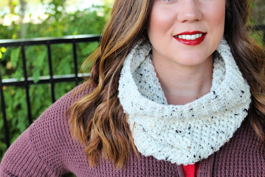 Close up of the textured crochet cowl, called the Savannah Cowl.