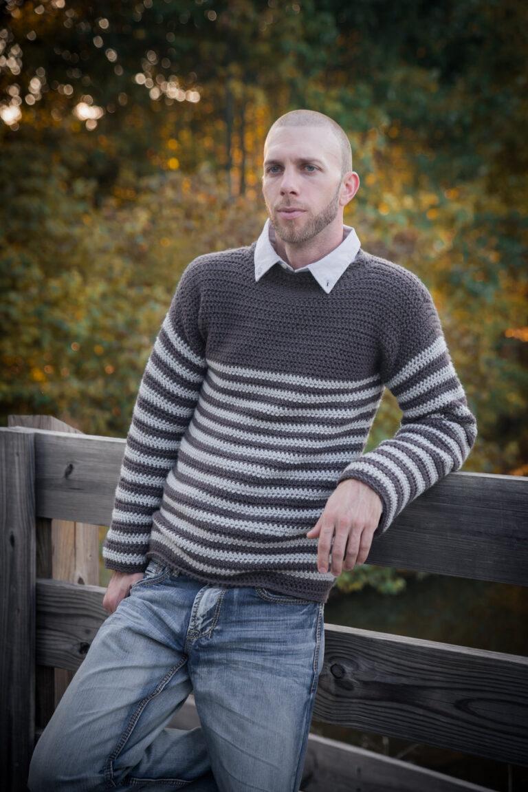 Men's Crochet Sweater Pattern- Upper Eastside Sweater