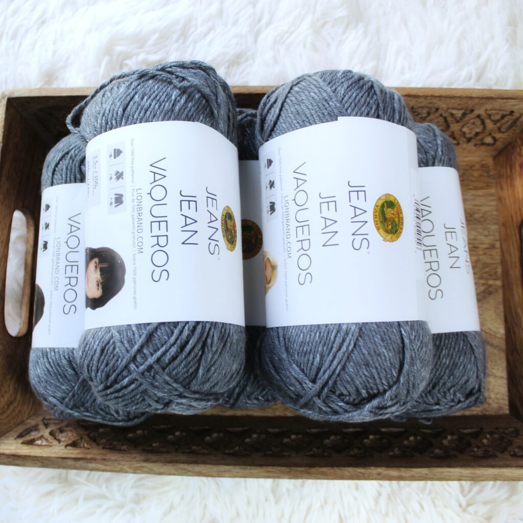Photo of the gray yarn, Lion Brand Jeans, used to make the Brimstone Sweater.