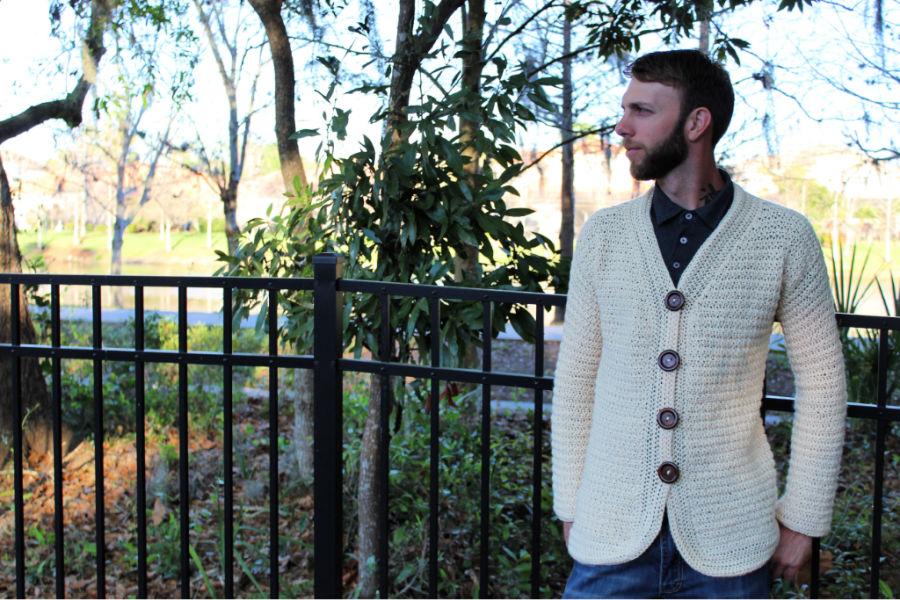 Men's Crochet Cardigan in a cream color, called the Dude Cardigan.