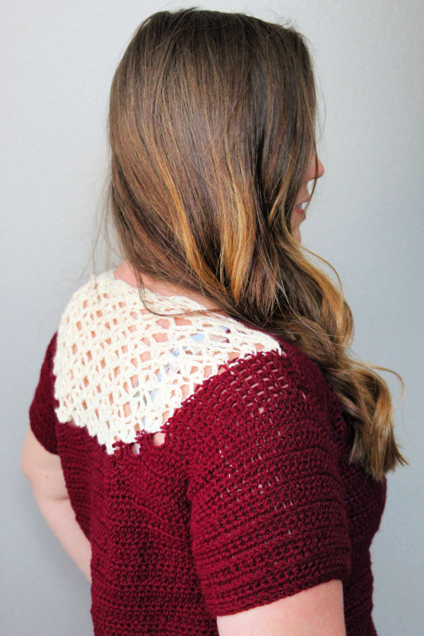 Side view of the women's crochet top, called the Tea Time Tee.