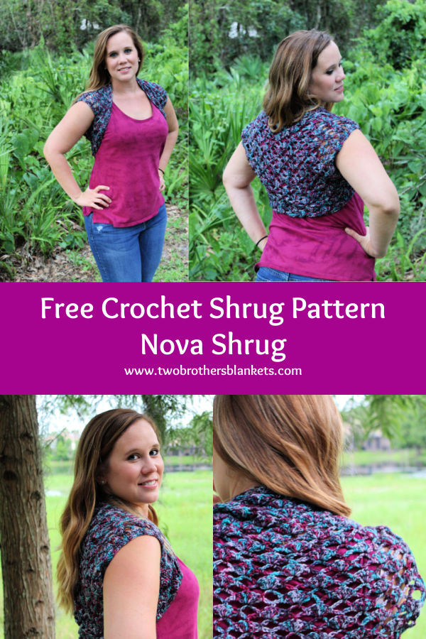 Free Crochet Shrug Pattern - Nova Shrug - Two Brothers Blankets