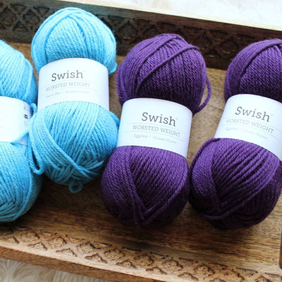 Close up of yarn used to crochet the Little Textures Beanie.