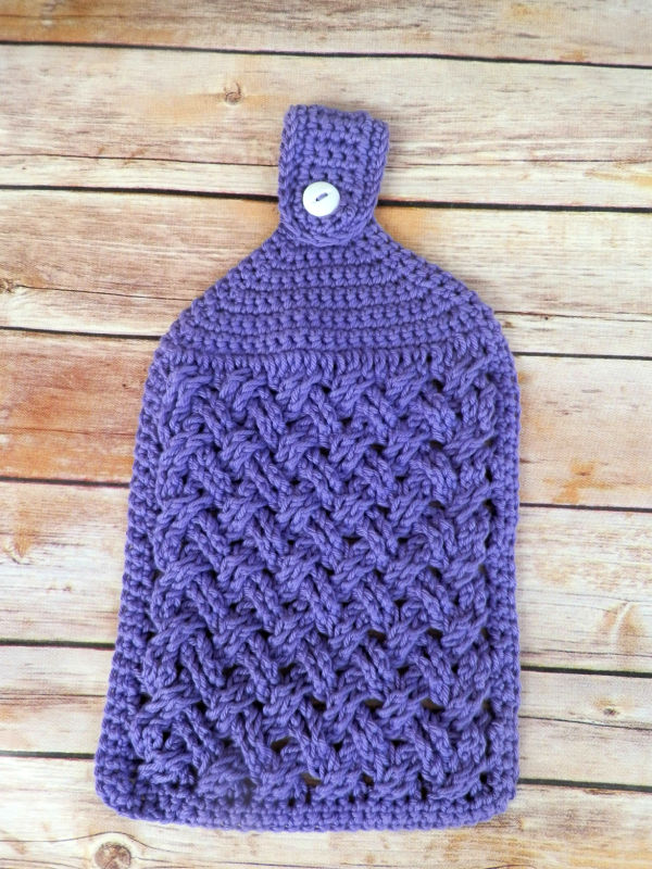 Photo of the hanging towel in the crochet kitchen set, called the Celtic Weave Kitchen Set.