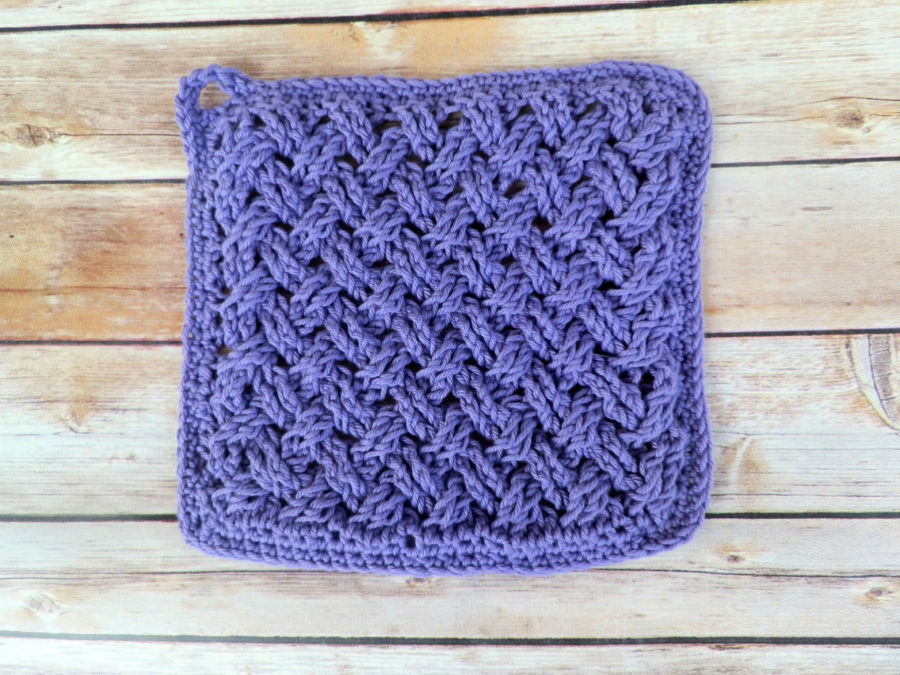 Photo of the hot pad in the crochet kitchen set, called the Celtic Weave Kitchen Set.