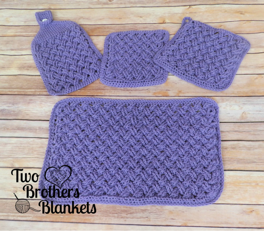 Crochet Kitchen Set called the Celtic Weave Kitchen Set
