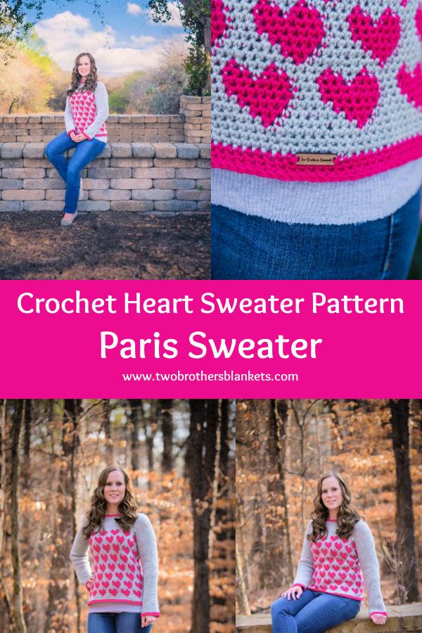 Crochet Heart Sweater Pattern- Paris Sweater- Two Brothers Blankets