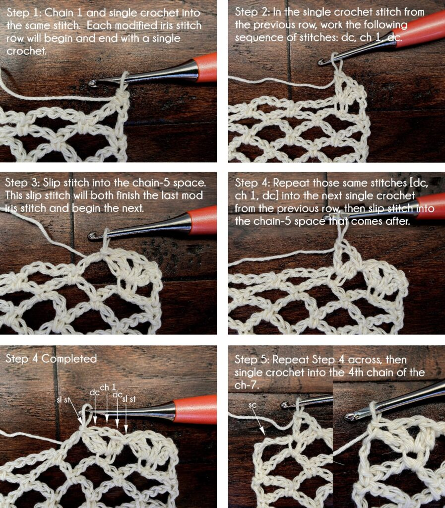 Photo tutorial of the modified Iris crochet stitch.